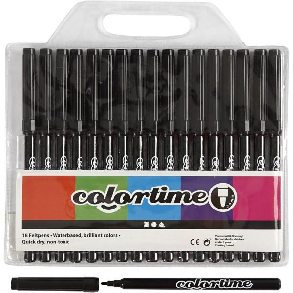 Feutre Colortime, trait: 2 mm, 18 pièces, noir - Photo n°1