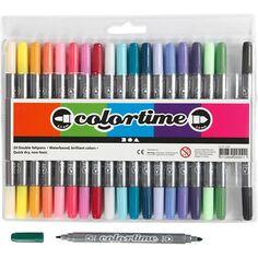 Marqueurs avec deux points - Multicolore - 20 pièces
