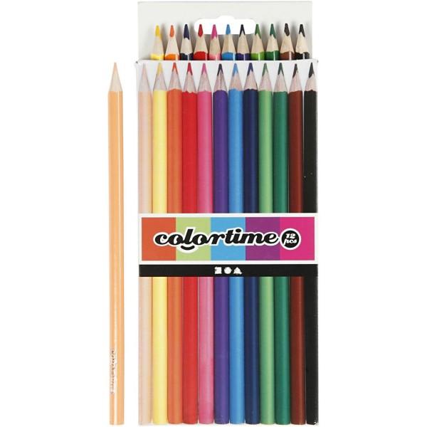 Crayons de couleur Colortime - Pointe 3 mm - 12 pcs - Photo n°1