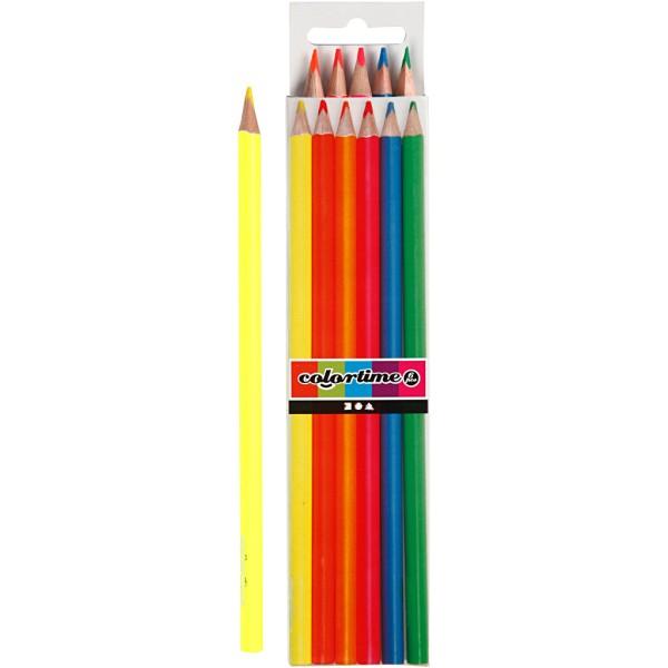 Crayons de couleur Colortime - Néons - Pointe 3 mm - 6 pcs - Photo n°1