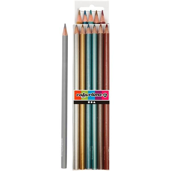 Crayons de couleur Colortime - Métallique - Pointe 3 mm - 6 pcs - Photo n°1
