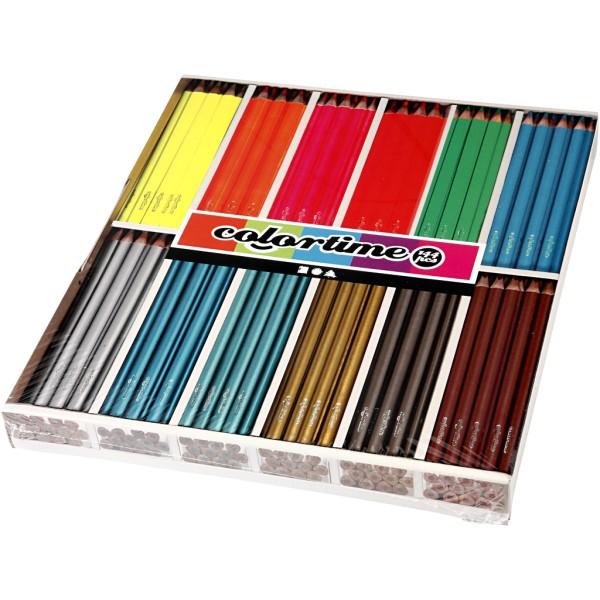 Assortiment de crayons de couleurs - Néons et métallique - 3 mm - 144 pcs - Photo n°1