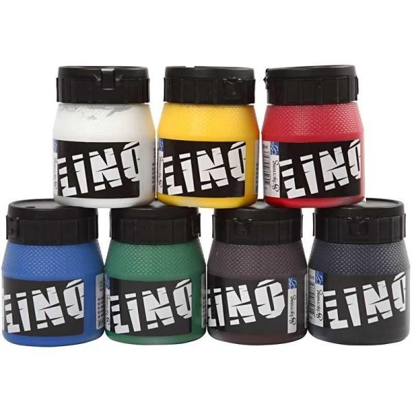 Assortiment d'encre Lino - Différentes couleurs - 250 ml - 7 pcs - Photo n°1