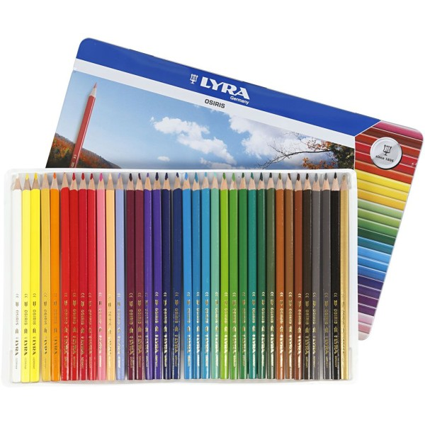 Crayons de couleur Lyra Osiris, L: 18 cm, mine: 3 mm, 36 pièces, Couleurs assorties - Photo n°1