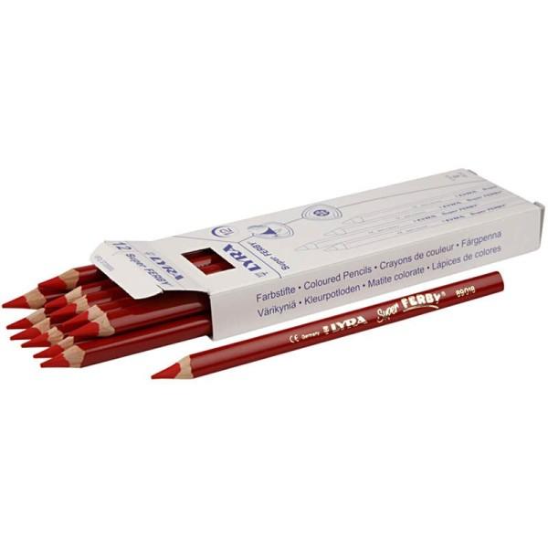Crayons de couleur Lyra Super Ferby 1, L: 18 cm, mine: 6,25 mm, 12 pièces, rouge - Photo n°1