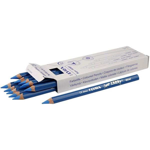 Crayons de couleur Lyra Super Ferby 1, L: 18 cm, mine: 6,25 mm, 12 pièces, bleu - Photo n°1