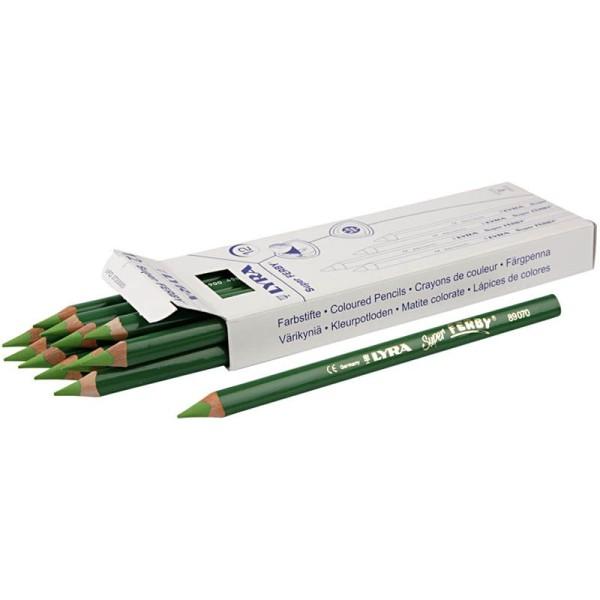 Crayons de couleur Lyra Super Ferby 1, L: 18 cm, mine: 6,25 mm, 12 pièces, vert clair - Photo n°1