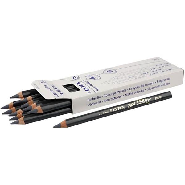 Crayons de couleur Lyra Super Ferby 1, L: 18 cm, mine: 6,25 mm, 12 pièces, gris - Photo n°1