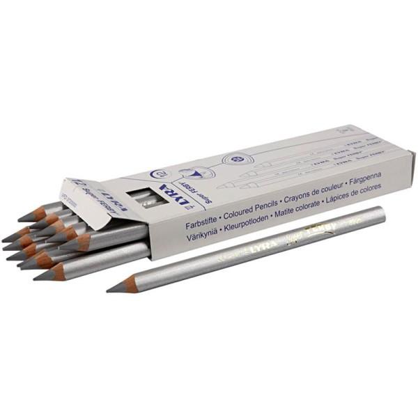 Crayons de couleur Lyra Super Ferby 1, L: 18 cm, mine: 6,25 mm, 12 pièces, argent, argent - Photo n°1
