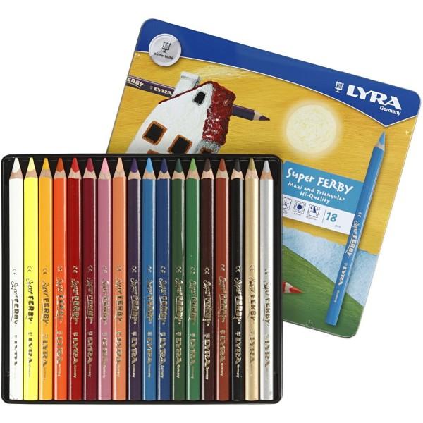Crayons de couleur Lyra Super Ferby 1, L: 18 cm, mine: 6,25 mm, 18 pièces, Couleurs assorties - Photo n°1