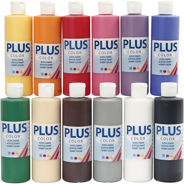 Lot de peinture acrylique Plus color - 12 x 250 ml - Couleurs assorties - Photo n°1