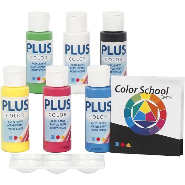 Lot de peinture acrylique Plus Color - 6 x 60 ml - Couleurs primaires - Photo n°1