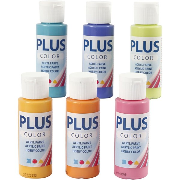 Lot de peinture acrylique Plus Color - 6 x 60 ml - Multicolore - Photo n°1