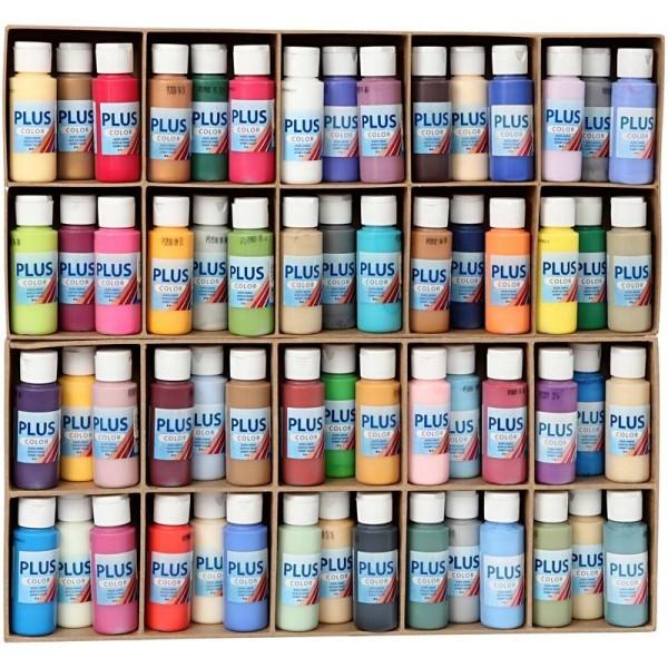 Lot de peinture acrylique Plus Color - 60 x 60 ml - Couleurs assorties - Photo n°1