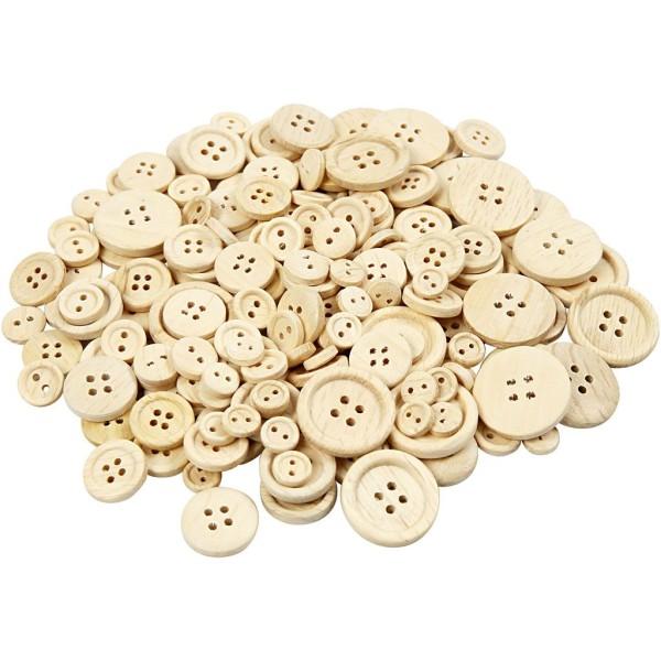 Lot de boutons en bois - 8 à 23 mm - 440 pcs - Photo n°1