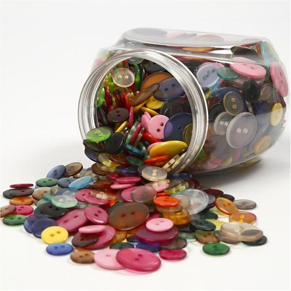 Assortiment de boutons à coudre - Multicolores, transparents et opaques - 12 à 20 mm - 800 pcs - Photo n°1