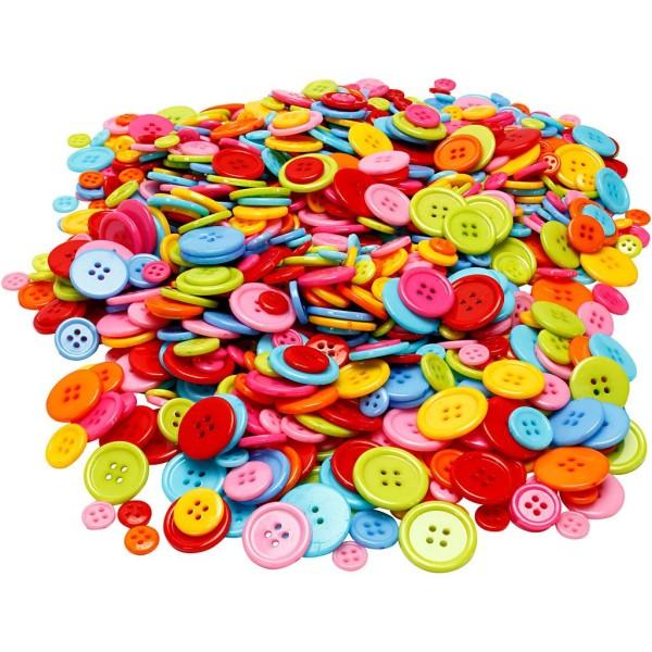 Assortiment de boutons colorés - De 10 à 22 mm - 500 g - Photo n°1