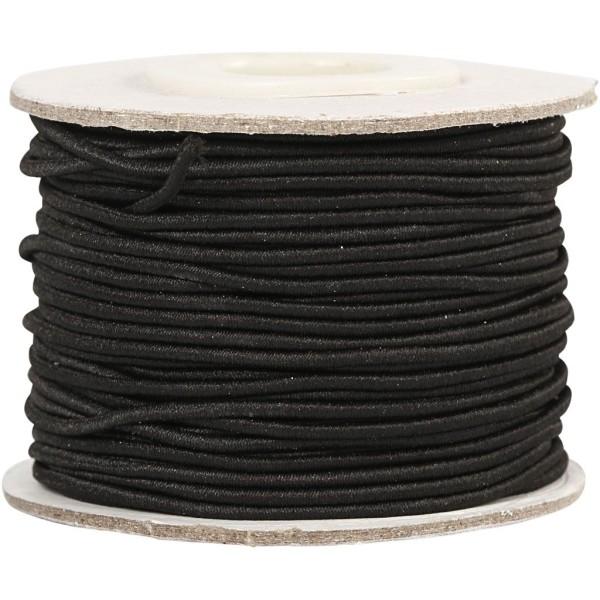 Rouleau de cordon élastique 1 mm - Noir - 25 m - Photo n°1