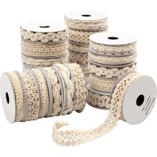Rubans décoratifs, l: 6-18 mm, 56x0,9 m, crème - Photo n°1