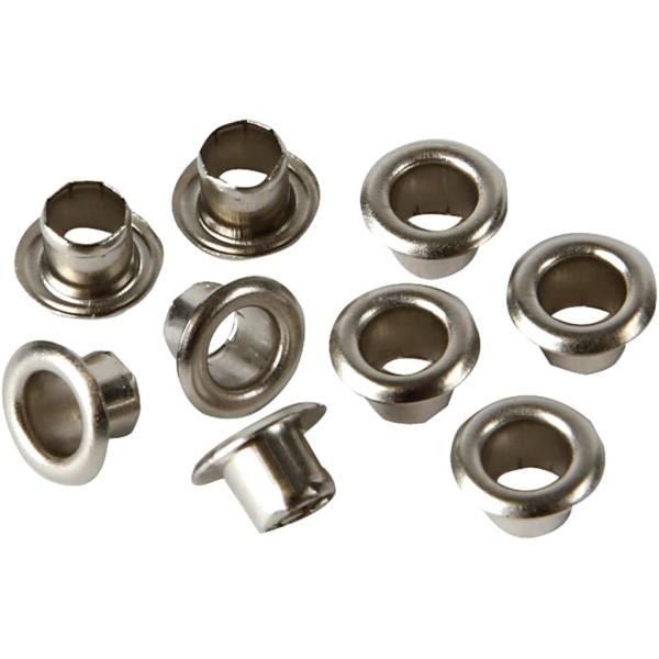 Oeillets en métal Argent - 7,5 x 4,5 mm - 100 pcs - Photo n°1