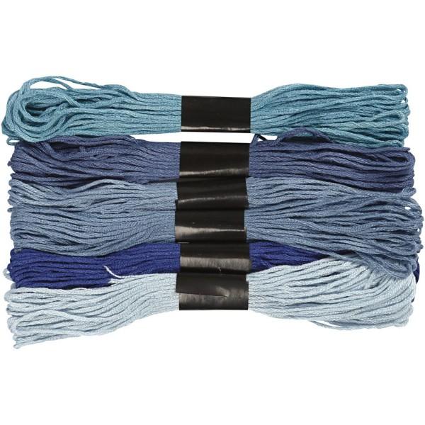 Fil à broder - 1 mm x 8 m - Harmonie de bleus - 6 pcs - Photo n°1