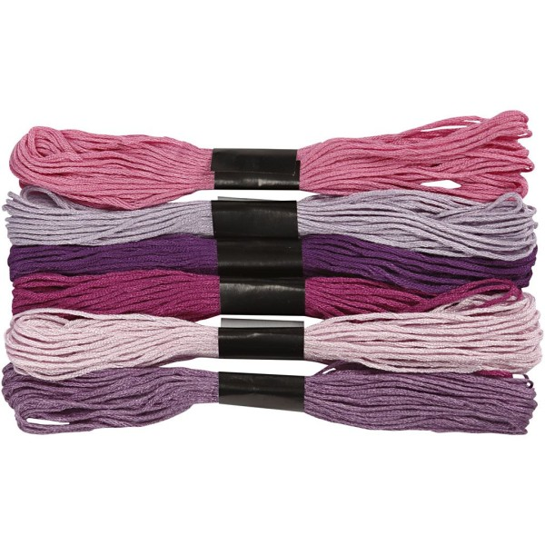 Fil à broder - 1 mm x 8 m - Harmonie violet - 6 pcs - Photo n°1