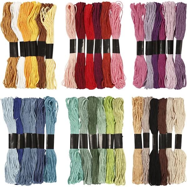 Assortiment de fils à broder 36 couleurs - 1 mm - 252 pcs - Photo n°1