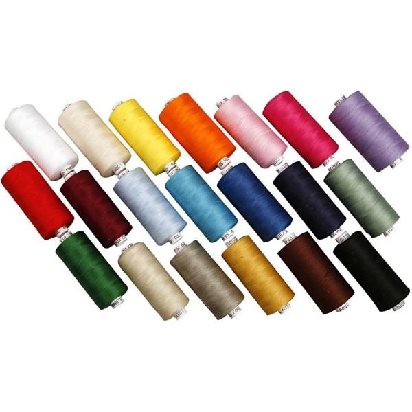 Assortiment de fils à coudre coton - 20 couleurs - 1000 m - 20 pcs - Photo n°1
