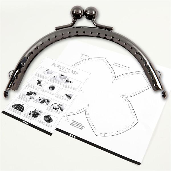 Kit fermoir porte-monnaie rond et patron - 10 cm - Photo n°1