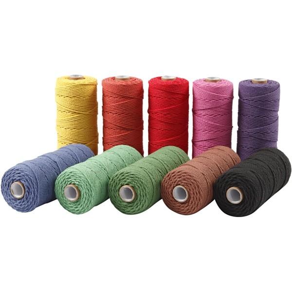 Ficelle de coton, L: 315 m, ép. 1 mm, 10x220 gr, couleurs franches - Photo n°1