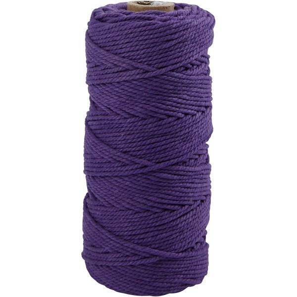 Ficelle de coton, L: 100 m, ép. 2 mm, 225 gr, violet - Photo n°1