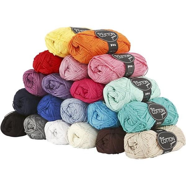 Assortiment de Laine 100% coton 50 gr - Nice Cotton - 20 pcs - Photo n°1