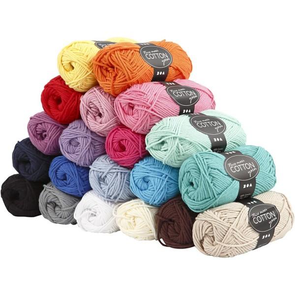 Assortiment de Laine 100% coton 50 gr - Nice Maxi Cotton - 20 pcs - Photo n°1