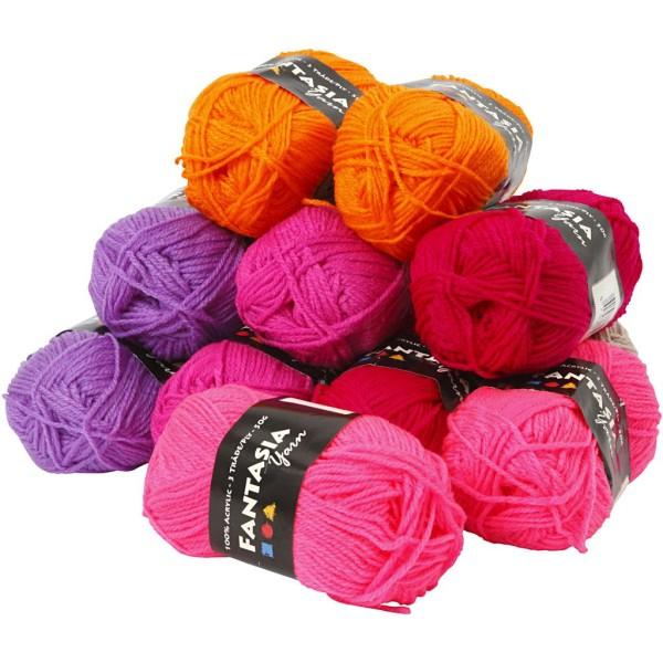Assortiment de pelotes de laine acrylique Fantasia 50 gr - Couleurs assorties - 10 pcs - Photo n°1