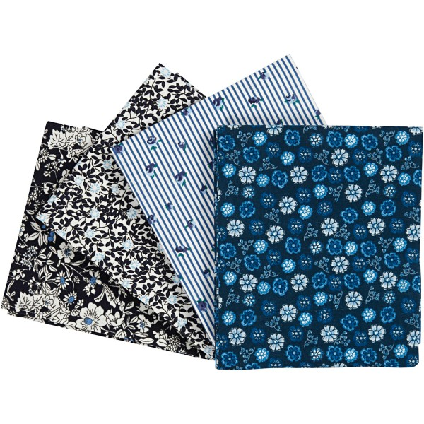 Lot tissu patchwork 45 x 55 cm - Bleu - 4 pcs - Photo n°1
