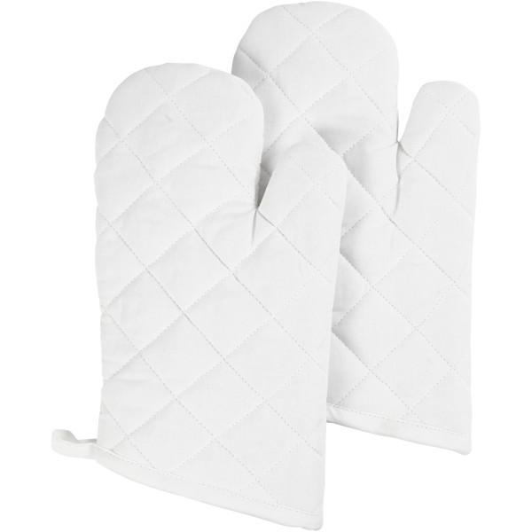 Lot de gants de cuisine à customiser - 18 x 28 cm - Blanc - 2 pcs - Photo n°1