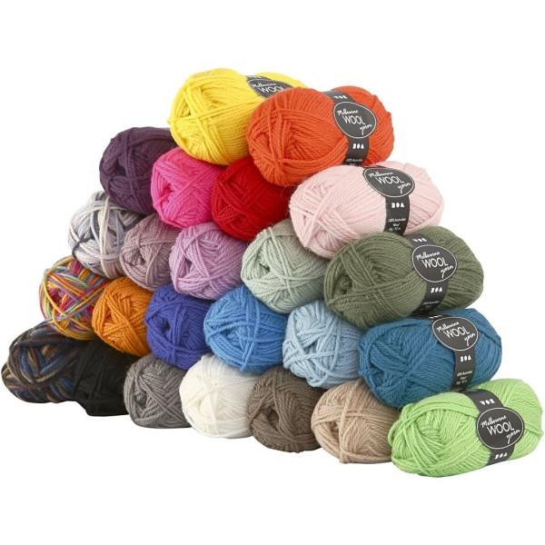 Assortiment de pelotes de laine naturelle - Melbourne Yarn - 50 gr - 24 pcs - Photo n°1
