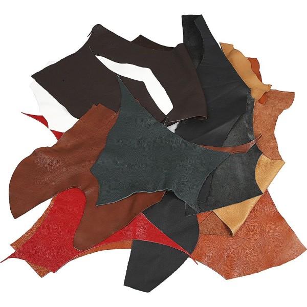 Assortiment de chutes de cuir véritable - 2 kg - Couleurs assorties - Photo n°1