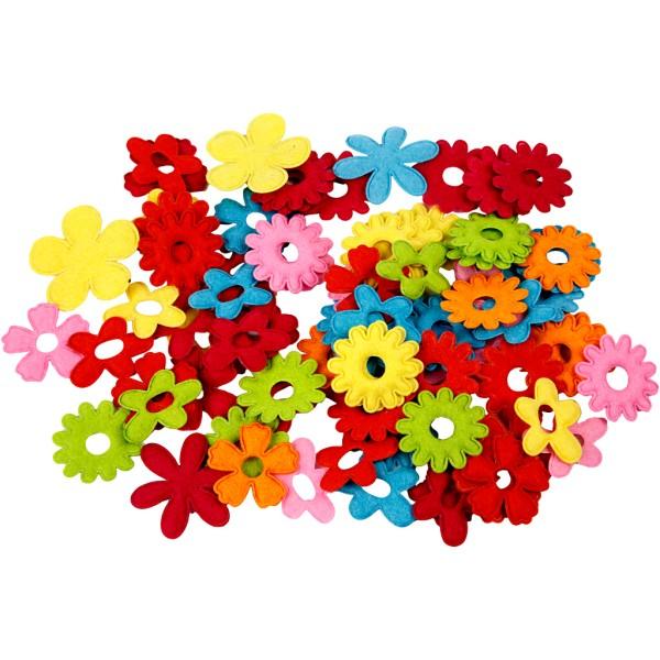 Fleurs colorées en feutrine 5 Formes - 35 x 45 mm - 135 pcs - Photo n°1