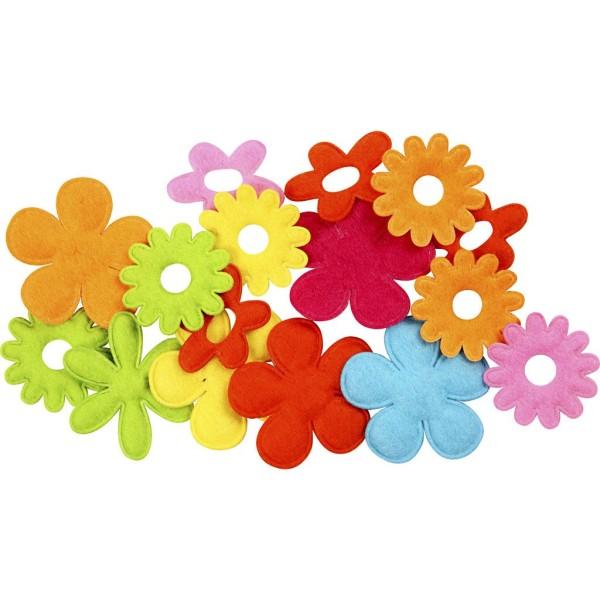 Assortiment de fleurs en feutrine - environ 3 cm - 16 pcs - Photo n°1
