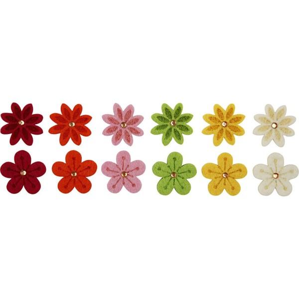 Assortiment de fleurs en feutrine avec strass - 3 cm - 12 pcs - Photo n°1