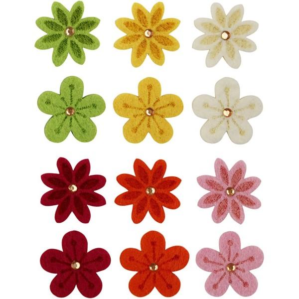 Fleurs colorées en feutrine 2 Designs - 30 mm - 120 pcs - Photo n°1