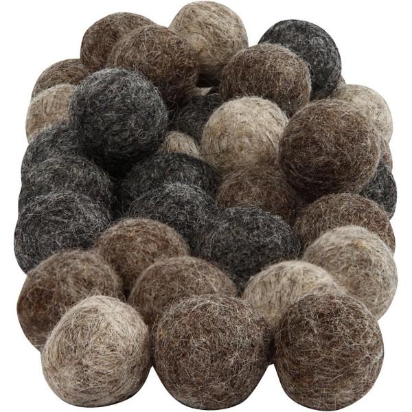 Boules en laine feutrées - Naturel - 20 mm - 64 pcs - Photo n°1