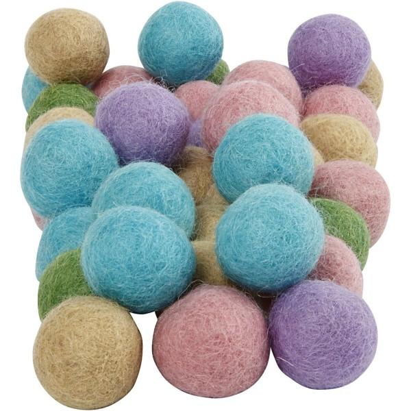 Boules en laine feutrées - Pastel - 20 mm - 64 pcs - Photo n°1