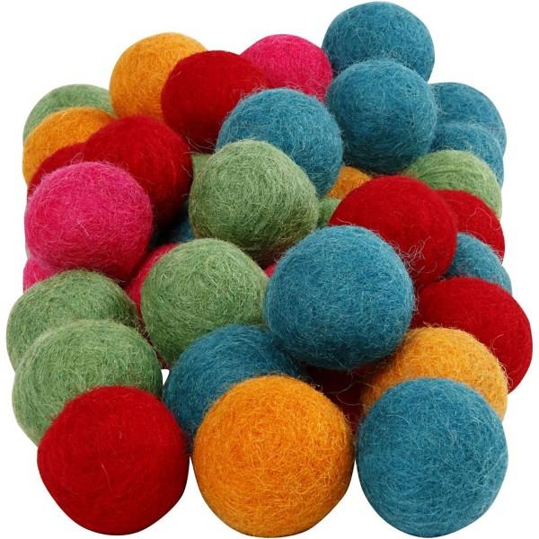 Boules en laine feutrées - Couleurs vives - 20 mm - 64 pcs - Photo n°1