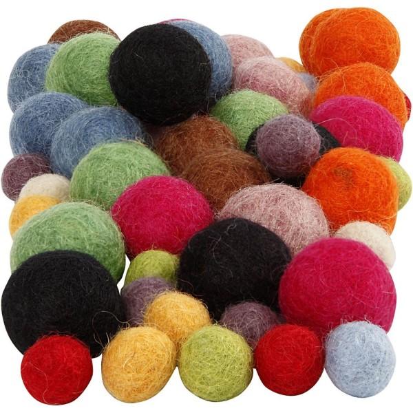 Assortiment boules en laine feutrées -10 et 20 mm - 52 pcs - Photo n°1