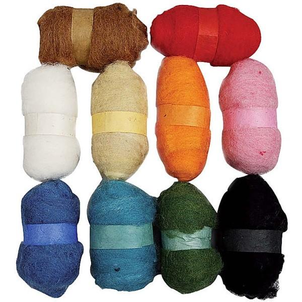 Lot de pelotes de laine cardée - 10 x 25 gr - Couleurs assorties - Photo n°1