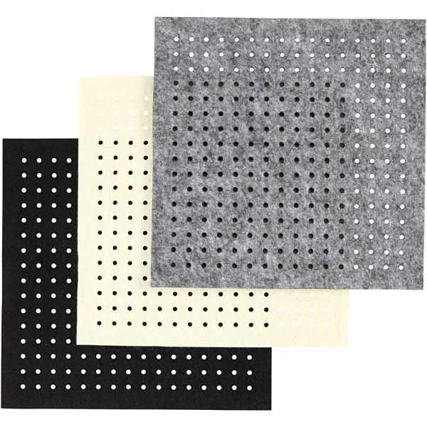Assortiment Feutrine avec trous - 20 x 20 cm - 12 pcs - Photo n°1