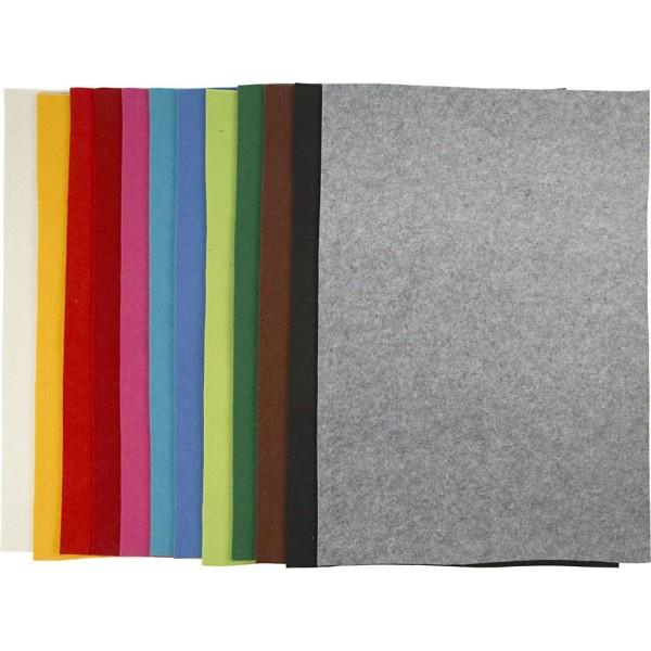 Feutrine synthétique, feuille 42x60 cm, ép. 3 mm, 12x10 flles, Couleurs assorties - Photo n°1