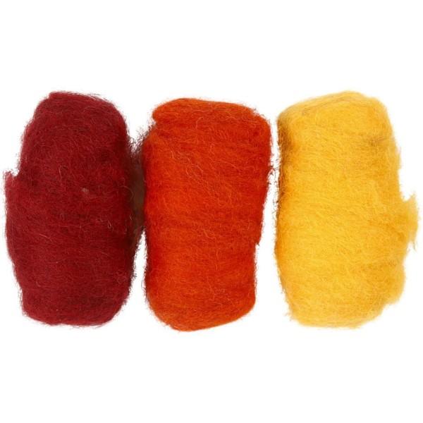 Assortiment de pelotes de laine cardée - 3 x 10 gr - Tons jaune orangé - Photo n°1